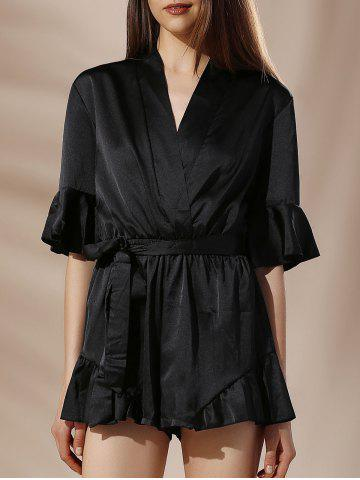 V Neck Self Tie Solid Color Flounce Sleeve Women s Romper
