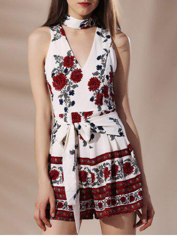 Store Stylish Stand Collar Flower Print Self Tie Cut Out Sleeveless Women's Romper