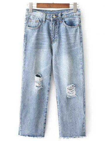 Chic Fashionable Wide Leg Ripped Jeans For Women LIGHT BLUE L