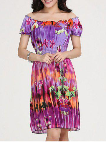 Buy Stylish Women's Floral Print Scoop Neck Short Sleeve Dress