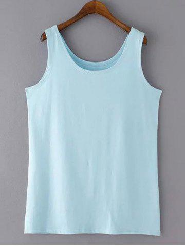 Outfits Casual Plus Size Scoop Neck Solid Color Slimming Women's Tank Top BLUE XL