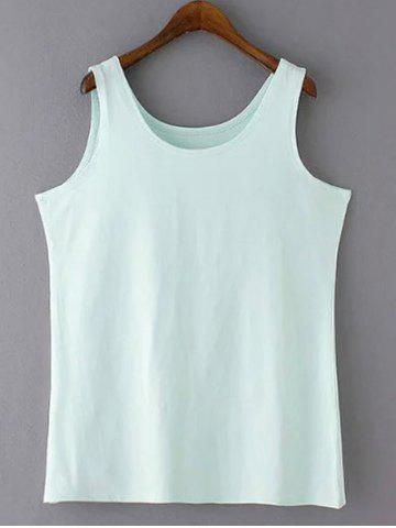 Casual Plus Size Scoop Neck Solid Color Slimming Women's Tank Top - Green - 2xl