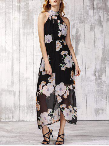 Cheap Trendy Stand Collar Sleeveless Floral Print Furcal Backless Women's Dress