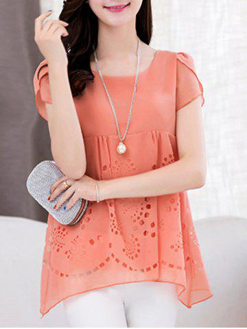 New Trendy Scoop Neck Short Sleeve Pure Color High Low Women's Blouse