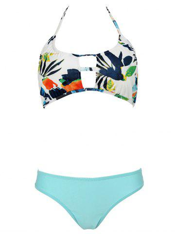 Buy Sweet Floral Halter Neck Hollow Out Women's Bikini Set