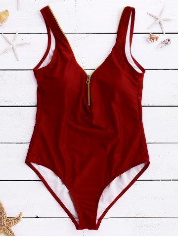 Outfit Fashionable Zipper Design Solid Color One Piece Women's Swimwear