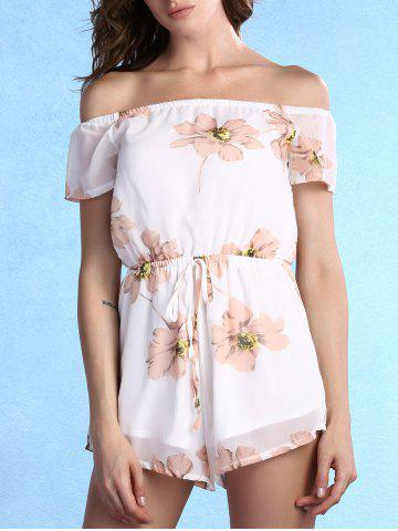 Sweet Off The Shoulder Floral Print Self Tie Romper