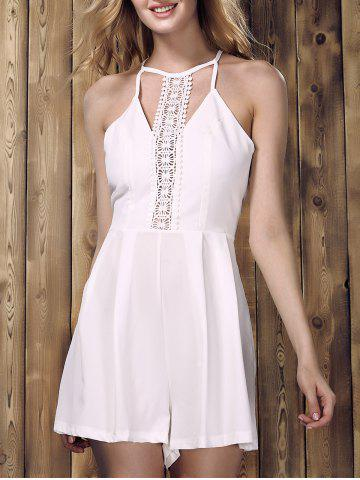 Hot Chic Sleeveless Lace Spliced Hollow Out Solid Color Women's Romper WHITE S
