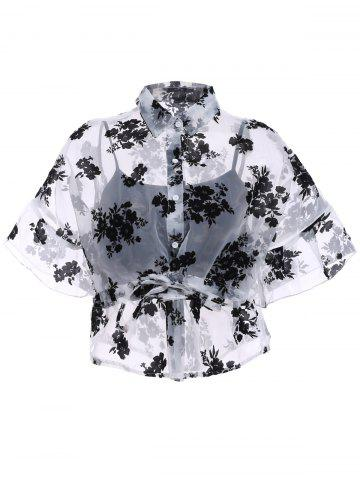 Hot Stylish Shirt Collar 1/2 Sleeve Floral See-Through Blouse Twinset For Women