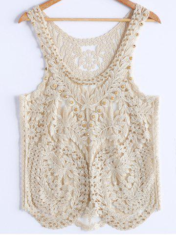 Fancy Stylish Scoop Neck Studded Embroidey Mesh Tank Top For Women