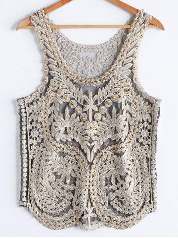 Store Stylish Scoop Neck Studded Embroidered Mesh Tank Top For Women