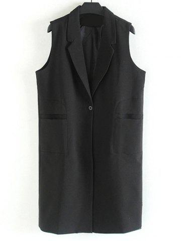 Trendy Plus Size Notched Collar Longline Waistcoat BLACK 2XL