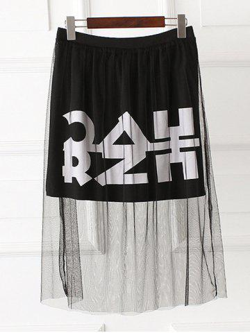 Store Letter Print Mesh Plus Size Mini Skirt