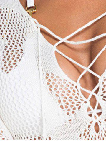 Store Plunging Neck Lace-Up Sheer Bathing Suit Cover-Up - ONE SIZE(FIT SIZE XS TO M) WHITE Mobile