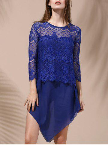 Chic Women's Stylish Laced Voile Spliced Asymmetrical T-Shirt