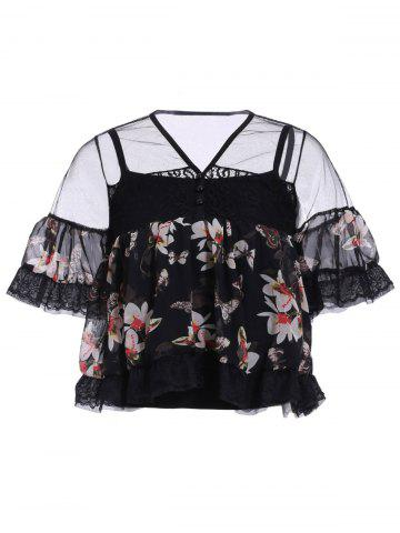 Hot Women's Stylish V Neck Laced Floral Print Bell Sleeve Blouse