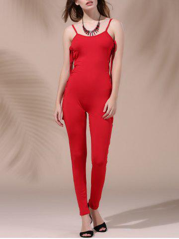 Trendy Women's Stylish Backless Pure Color Cut Out Lace-Up Jumpsuit