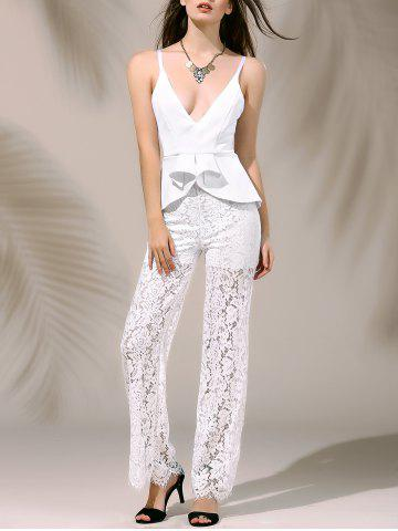New Women's Stylish Plunging Neck Laced Flounce Jumpsuit