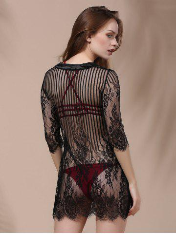 Trendy Embroidery Lace Cover Ups For Swimwear - L BLACK Mobile