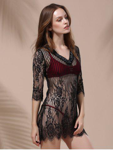 New Embroidery Lace Cover Ups For Swimwear - L BLACK Mobile