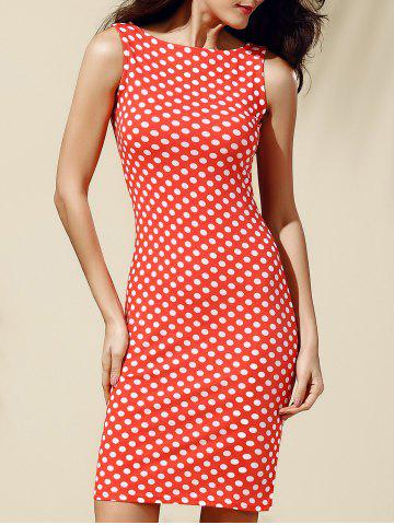 Online Women's Stylish Sleeveless Polka Dot Jewel Neck Dress