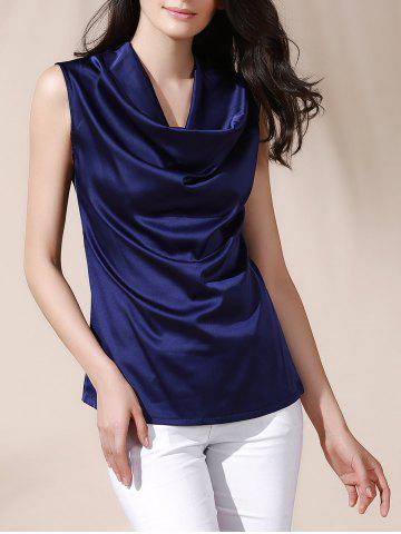 Discount Graceful Cowl Neck Solid Color Sleeveless Women's Blouse