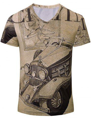 Fancy Trendy Car Printed Short Sleeves T-Shirt For Men BROWN S