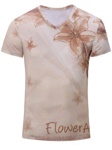 Latest Casual Flower Printed Short Sleeves T-Shirt For Men YELLOWISH PINK S