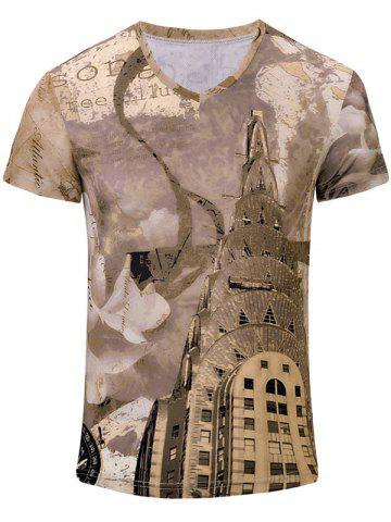 Online Building Printed V Neck Tee BROWN S