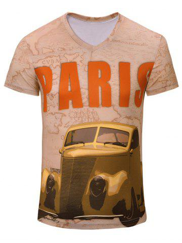 Casual Car Printed Short Sleeves T-Shirt For Men - Complexion - 2xl