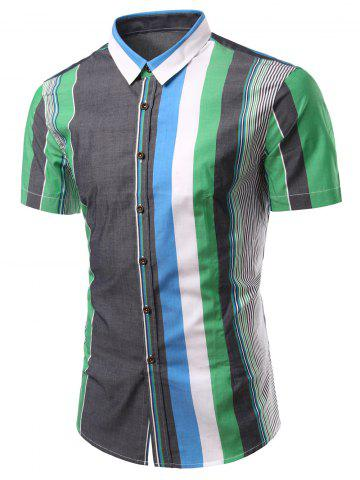 Outfit Turn-Down Collar Color Block Splicing Stripe Short Sleeve Shirt For Men