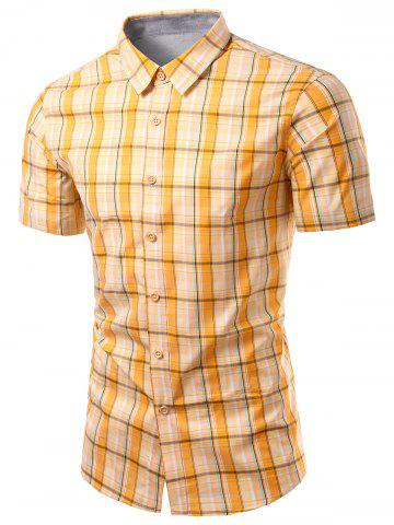 Trendy Turn-Down Collar Checked Design Short Sleeve Shirt For Men