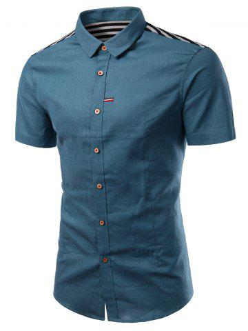 Chic Turn-Down Collar Solid Color Stripe Splicing Design Short Sleeve Shirt For Men