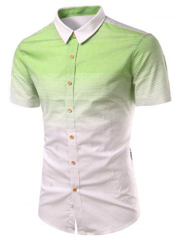 Outfit Turn-Down Collar Ombre Stripe Splicing Design Short Sleeve Shirt For Men GREEN S