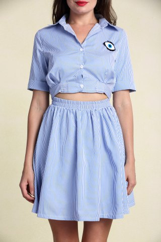 Fashion Stylish Women's Hollow Out Short Sleeve Striped Shirt Dress LIGHT BLUE S