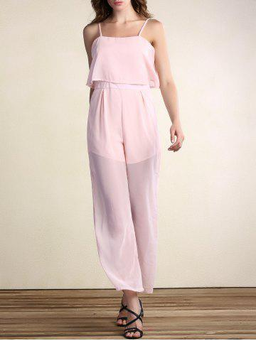 Stylish Spaghetti Strap Spliced Solid Color Jumpsuit