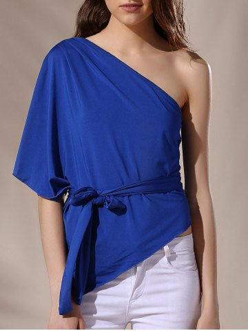 Cheap Stylish One-Shoulder Self Tie Asymmetric Half Sleeve Women's Blouse