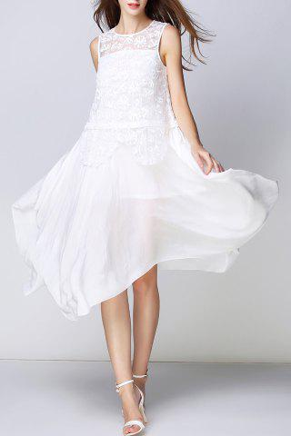 Chic Lace Bodice Irregular White Dress