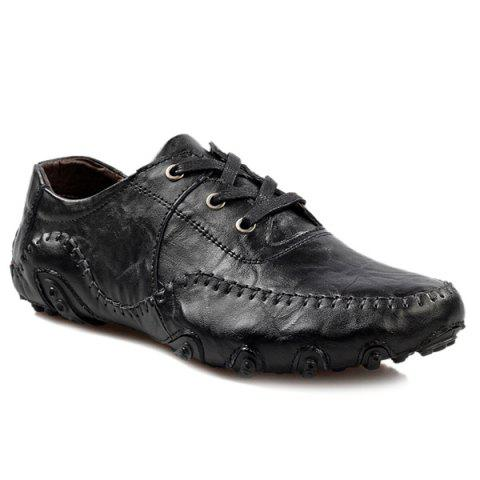 Best Fashionable Stitching and Lace-Up Design Casual Shoes For Men BLACK 42