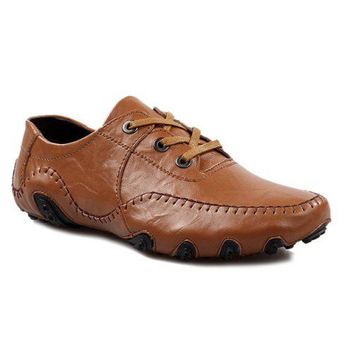 Shop Fashionable Stitching and Lace-Up Design Casual Shoes For Men BROWN 39