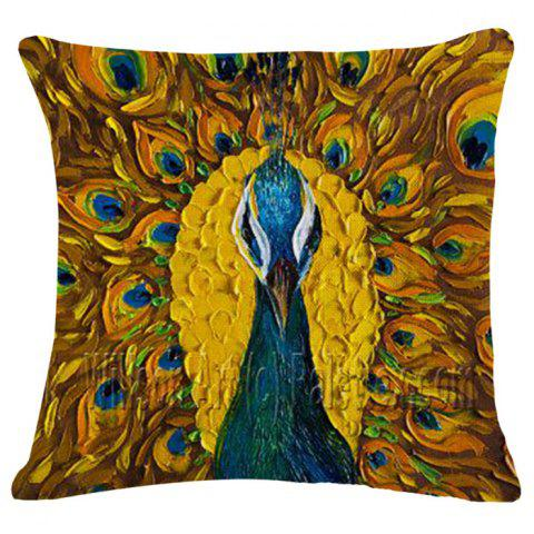 Fashion Animal Peacock Oil Painting Pattern Square Shape Pillowcase (Without Pillow Inner)