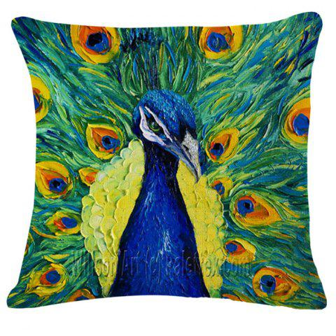 Shops Animal Peacock Oil Painting Pattern Square Shape Pillowcase (Without Pillow Inner) GREEN