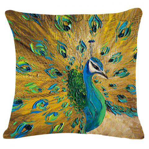 Chic Animal Peacock Oil Painting Pattern Square Shape Pillowcase (Without Pillow Inner)