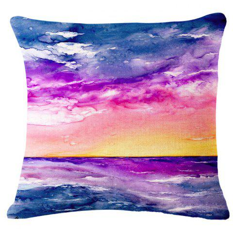 Affordable Fashion Sunrise Landscape Oil Painting Pattern Square Shape Pillowcase (Without Pillow Inner)