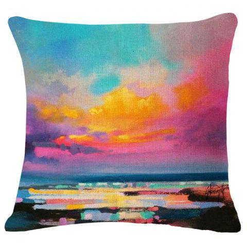 Unique Fashion Scenic Beauty Oil Painting Pattern Square Shape Flax Pillowcase (Without Pillow Inner)