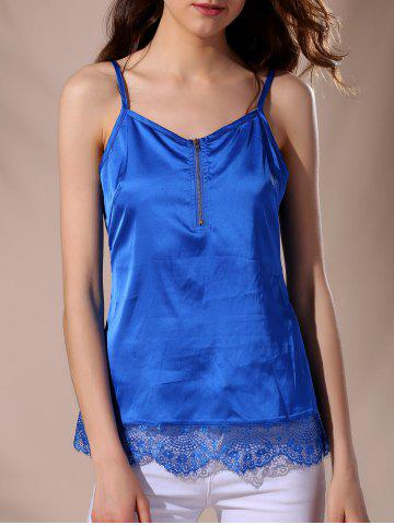 Casual Strappy Lace Splicing Top For Women - BLUE M
