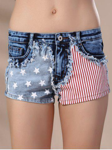 Outfits Women's Stylish American Flag Print High Waisted Shorts