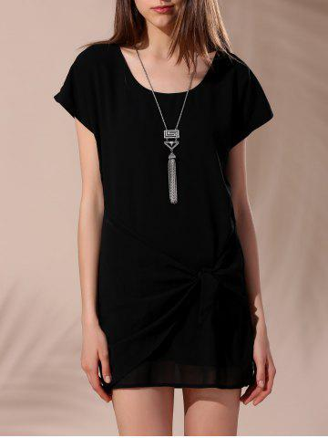 Outfit Women's Stylish Scoop Neck Short Sleeve Tie-Side T-Shirt Dress BLACK L