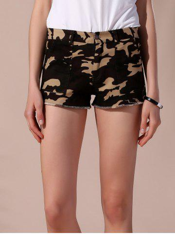 Frayed Camouflage Shorts with Pockets - Army Green - S