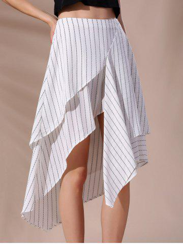 Affordable High-Waisted Pinstriped Asymmetric Skirt WHITE L